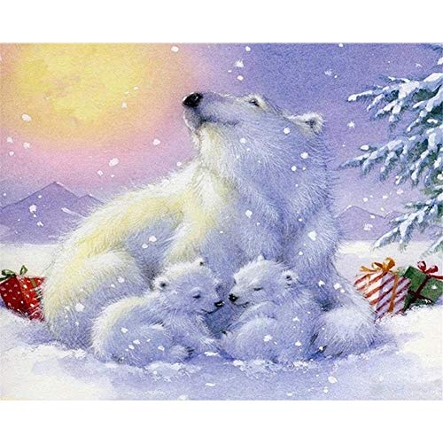 Berrd 5D DIY Diamond Painting Kit Runder Strass Polar Bear Kreuzstich Mosaik Kunst Wanddekoration-Square Drill,40x50cm