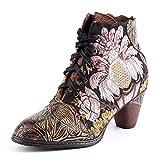 Botas Cortas De Cuero para Mujer Botines Retro De Tacón Grueso Bordado De Punta Redonda Patrón De Flores De Empalme Botas Bajas para Mujer Zapatos para Caminar Elegantes,Black-36