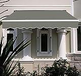 GFKD - Toldo manual de 2 m, resistente a los rayos UV, toldo para patio, toldo completo con accesorios y mango enrollable, color gris