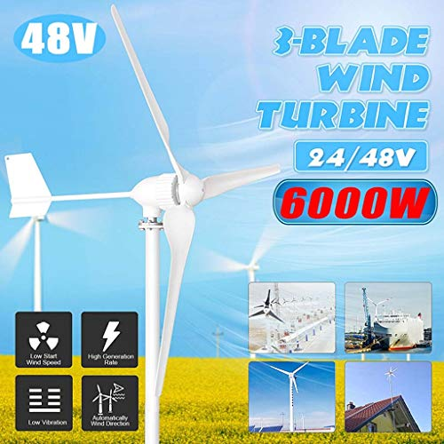 6000W 48V Windgenerator 3 Blatt-Windkraftanlagen Horizontale Startseite Powers Windmühle Energieanlagen Lade (Voltage : 12V)