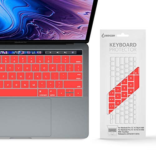 IBENZER Macaron Series Silicone Keyboard Cover for MacBook Pro 13'' or 15'' with Touch Bar (2018 2017 2016 Model: A1706 A1707 A1989 A1990), Red, MKC05RD