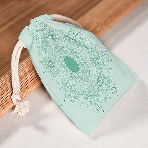 O5KFD & 8 6-pack MediumAquamarine Mandala opslag op canvas trekkoord cadeaubuidel ademend product pouch bags pak voor Thanksgiving verjaardag geschenk wrap - met patroon bedrukt 12 * 18cm wit