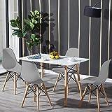 H.J WeDoo Table de Salle à Manger avec 4 chaises, Table Rectangulaire Blanche et 4 Gris Chaises Scandinaves en Plastique Design