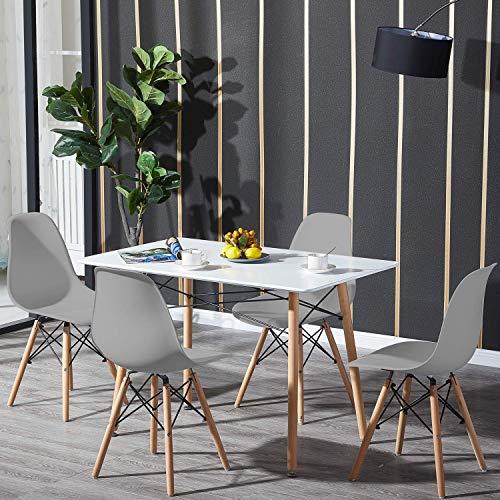H J WeDoo matbord och stolar set med 4, rektangulärt bord och 4 vita nordiska stolar med ben i bokträ för kontor vardagsrum matsal kök balkong trädgård
