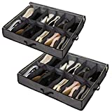 Sami Time Under Bed Shoe Storage Organizer for Closet, Shoe Container Box Storage with Front Zippered Closure and Clear Cover (12 Pairs) (Shoe Bag Pack 2)