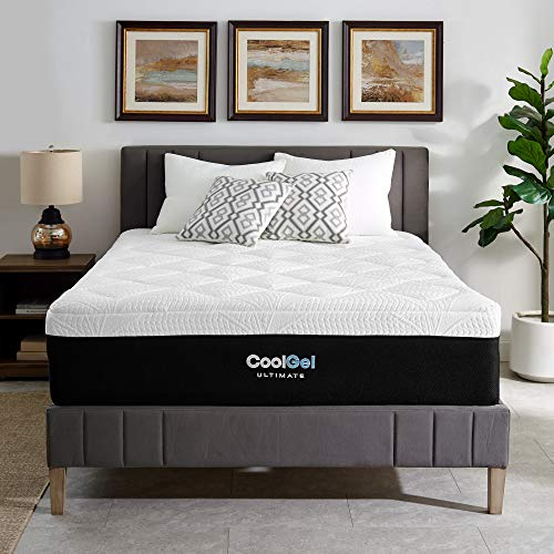 Classic Brands Cool Gel Ice Memory Foam 14-Inch Mattress with 2 BONUS Pillows   CertiPUR-US Certified   Bed-in-a-Box, Queen