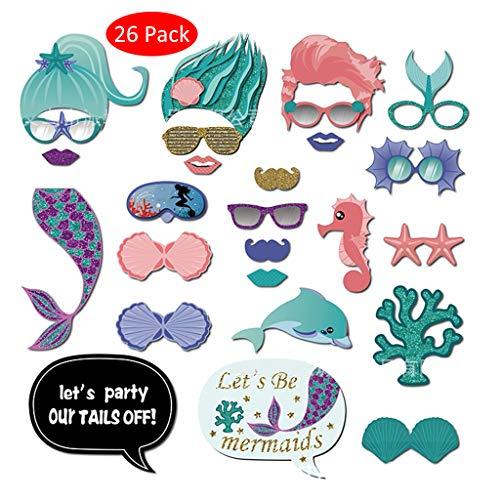 Amycute 26 PCS Sirena Photo Booth Props, DIY Apoyos de Fotos Fiesta Sirena Peinado, cola de pez, concha feliz cumpleaños Party para decoracion fiesta cumpleaños infantil, para fiestas Niños Adultos