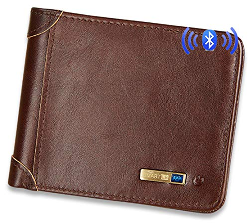 Smart LB Smart Anti-Lost Wallet with Alarm, Bluetooth, Position Record (via Phone GPS), Cowhide Leather Purse Retro Style (Dark Brown, Horizontal)