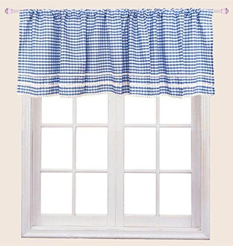 ZHH Crochet Side Kitchen Curtain Valances Blue White Plaid Cafe Curtains for Window Cotton Valances 59 Inch x 17 Inch