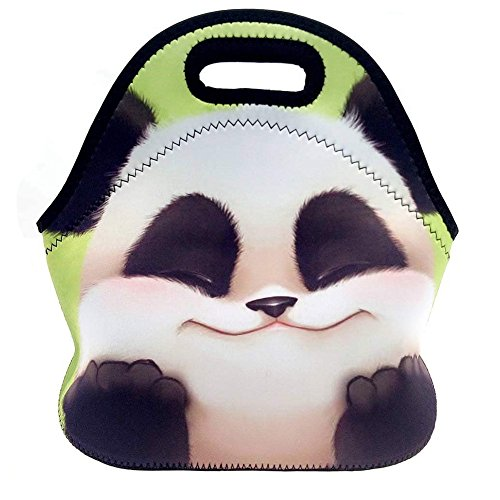 (Cute Panda) 3.5MM Thick Neoprene Lunch Bag/Lunch Tote, Insulated | Stretchy | Reusable | Washable | Rugged Zipper | Great For Lunchboxes & Snacks By Selric