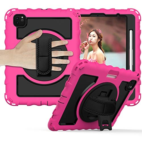 Xyamzhnn IPad Case,For IPad Air 360 Degree Rotation PC + Silicone Shockproof Combination Case With Holder & Hand Grip Strap & Neck Strap (Color : Hot Pink)