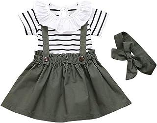 T TALENTBABY Kleinkind Baby Mädchen Kleid Schwarz Weiß Streifen Floral Rüschen Tops Overall  Strapsrock  Stirnband Overall Outfits Kleidung Set