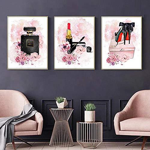 WTYBGDAN Nordic Pink Flowers Parfüm Kunst Poster High Heels Leinwand Malerei Make-up Mode Poster Wandbild Wohnzimmer Dekoration | 50x70cmx3Pcs / Kein Rahmen