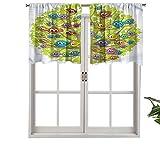 Hiiiman Sunshine Blockout cortina canaria Bird Fun Family, juego de 1, 91,4 x 45,7 cm para interior salón comedor