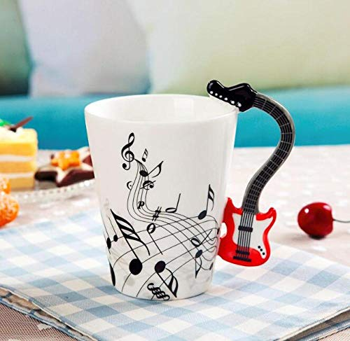 LongBin Música Creativa Estilo Violín Guitarra Taza De Cerámica Café Té Leche Tazas De Madera con Asa Taza De Café Regalos Novedosos-Style_3