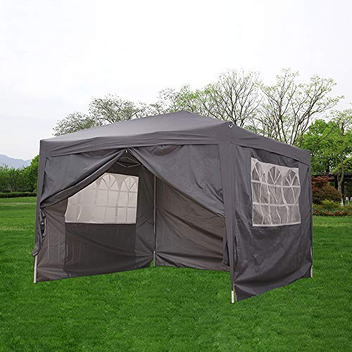 elevenfurniture Pop Up Gazebo Marquee Garden Awning Party Tent Canopy 3x3m (Grey)