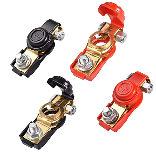 WiDream Lot de 4 bornes de batterie de voiture 12 V - Bornes de batterie - Connecteur de batterie rapide - Pour caravane, voiture, véhicule, camping-car, cuivre pur (2 paires noir et rouge)