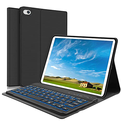 iPad Mini Keyboard Case - Boriyuan 7 Colors Backlit Detachable Keyboard Slim Leather Folio Smart Cover for Apple iPad Mini 5 2019/iPad Mini 1 2 3 4 - Black