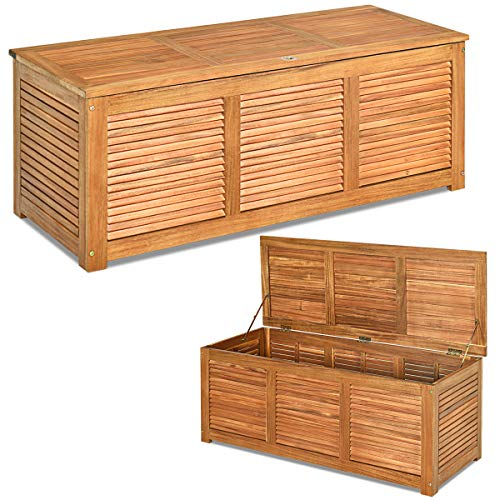 Tangkula 47 Gallon Acacia Wood Deck Box, Garden Backyard Storage Bench, Outdoor Storage Container for Patio Furniture Cushions and Gardening Tools (Natural)