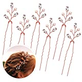 6 Pieces Bridal Hair Pins Pearl Crystal Hair Accessory Vintage Wedding Party Hair Pins for Bride, Bridesmaids, Flower Girls (Rose Gold)