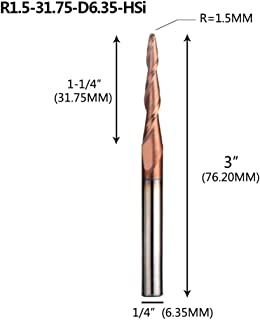 SOLIUNIMILL 1Pc Tungsten Carbide End Mill 1/4 Inch 6.35Mm Tapered Ball Nose End Mills CNC Engraving Carving Bit Router Bits Milling Cutter R1.5-31.75-6.35-HSi