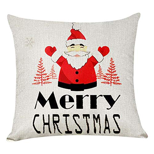 zzxywh hristmas Red Santa Claus Deer Tree Pattern Cushion Cover Car Home45×45cm with pillow core