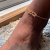 NOLOGO OYPY Damenmode 1990-2019 Geburtsjahr Knöchelbein Armband Schmuck Edelstahl Rose Gold Nr Anklet Best Friend Geschenke (Color : Gold, Size : 2000)