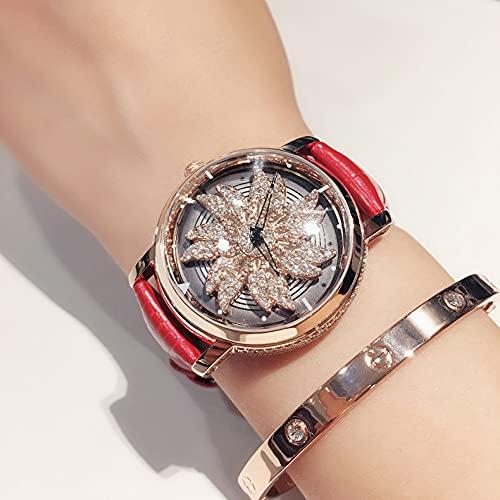 ZWH New Trend Shake con una Personalidad Rotación de Rotación Ladies Diamond Copo de Nieve Genuino Cinturón de Cuero Impermeable Reloj de Estudiante (Color : Red Gold Shell)