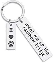 VANLOVEMAC Loss of Pet Memorial Keychain Dog Cat Remembrance Jewelry Pet Sympathy Gift Dog Remembrance for Women Men Once by My Side Forever in My Heart Key Ring