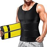 Cimkiz Sauna Vest Mens Waist Trainer for Men Sauna Suit for Men Workout Waist with Zipper 2 in 1