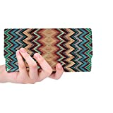 BGDFN Único personalizado abstracto colorido dibujo tapiz suelo mujeres triple cartera largo monedero titular de la tarjeta de crédito bolso