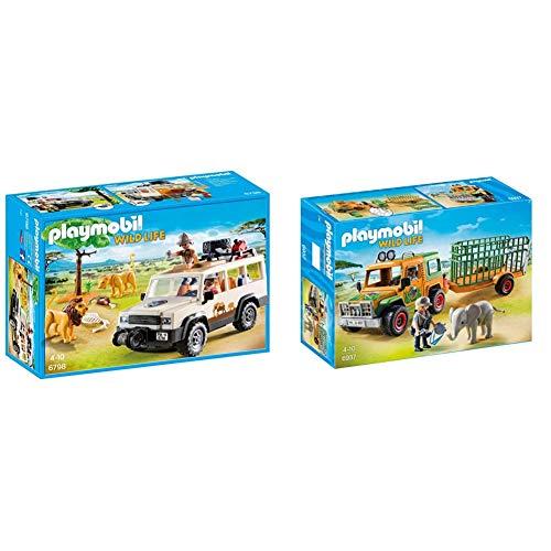 Playmobil Vida Salvaje Vehículo Safari con Leones, Playset de Figuras de Juguete, Multicolor (6798), Miscelanea + Camión con Elefante (6937)