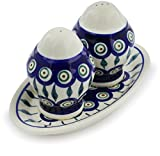 Polish Pottery 7¼-inch Salt and Pepper Set (Peacock Leaves Theme) + Certificate of Authenticity