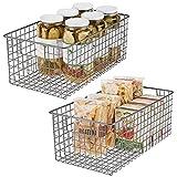 mDesign Juego de 2 cestas de almacenaje multiusos – Compactas cestas...