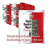 Kaneyama Yaki Sushi Nori, Premium Gold Red, Half Size, 8 Inner Boxes of 10 x 100-Sheet-Pk, Total 8000 Half Sheets