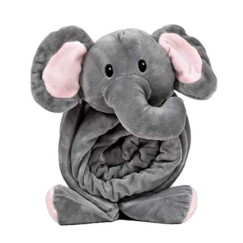 Snuggies Stuffed Animal Blanket and Plush Elephant Pillow 2-in-1