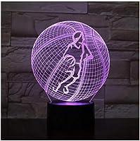 3Dイリュージョンナイトライト バスケットボール スマートタッチ LED3Dキッズおもちゃベビースリープデスクランプ寝室の装飾ベッドサイドスマートタッチ7色変化する調光可能、女の子の男の子のための最高のおもちゃの誕生日