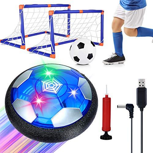 Sinwind Air Power Fußball Kinderspielzeug, Kinderspielzeug Fußball Hover Power Ball Air Fussball mit LED-Licht Geschenke für Junge Mädchen Indoor Outdoor Spiele (Mit Ziel Aufladen)