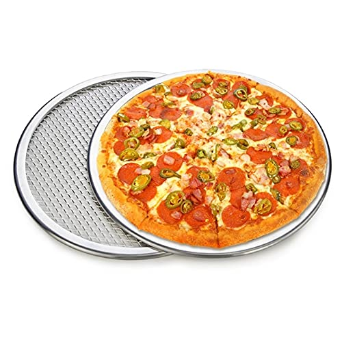 Pizzasteine/Pizzableche 2 stücke Aluminium Pizza-Bildschirm Backbecher Commercial Pizza Machen Netto Backformen Pizza Werkzeuge Metall Net Backformen Küchenwerkzeuge Pan Runder Backfach Pizza Backblec