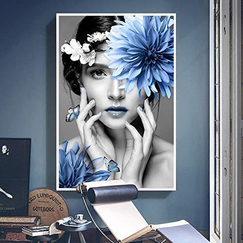 Moderne Modellblumenfrauenplakat und Drucke auf Leinwand auf Abstrakter Wanddekoration,Rahmenlose Malerei-50X75cm