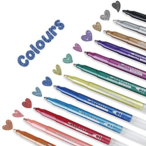 MP - Rotuladores Brillantes con Purpurina para Colorear, Bolígrafos para hacer Tarjetas de Bricolaje, Dibujar, Álbum de fotos, Cartulina, Proyectos de Papel, Regalo de Cumpleaños, 12 Marcadores