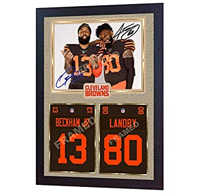 S&E DESING Odell Beckham Jr Jarvis Landry Cleveland Browns NFL Signed Autographed Framed (13 in x 10 in)