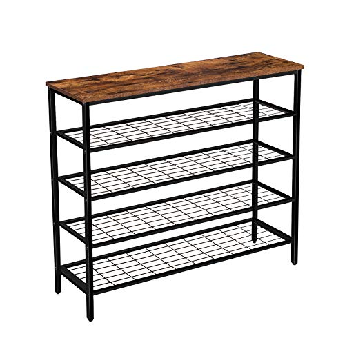 HOOBRO Shoe Rack, 5-Tier Shoe Shelf, Industrial Shoe Storage Organizer with 4 Metal Mesh Shelves, Durable and Stable, Ideal for Entryway, Hallway, Closet, Bedroom, Easy Assembly, Rustic Brown BF05XJ01