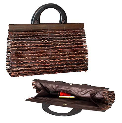 Australian Treasures - Bolso de mano para damas. Un bolso hecho a mano de bambú y madera. Elegante, ligero y compacto. 35 x 21 x 12cm