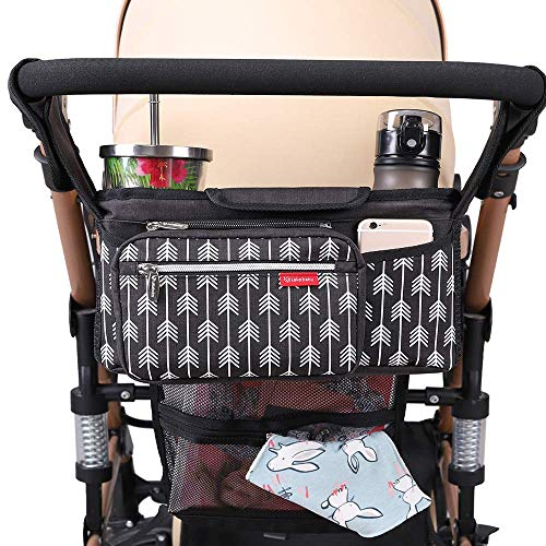 Lekebaby Baby Stroller Organizer with Insulated Cup Holders Universal Fit for All Baby Stroller Models Ultimate Accessory for Parents On-the-go, Arrow Print, Black