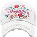 Women's Floral Hey Y'all Southern Vintage Baseball Hat Cap (White)