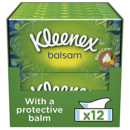 Kleenex Balsam Facial Tissues, Tissues Box Multipack, 12 Standard Boxes (768 Tissues)