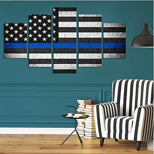 5 Stücke Leinwand Malerei Blaue Dünne Linie Usa Flagge Bild Druckplakat Gerahmte Wandkunst