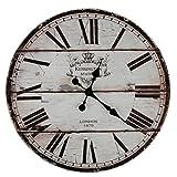 Roomando XXL Wanduhr Uhr Ø 58 cm Shabby Vintage Motivuhr Küchenuhr (London)