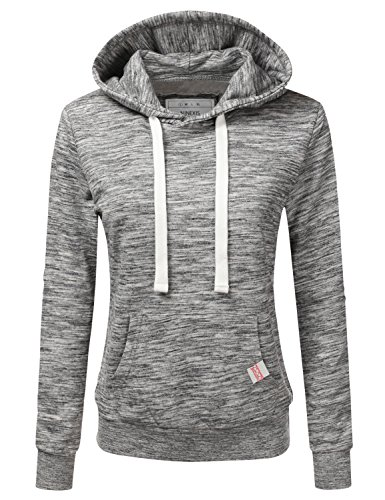 NINEXIS Womens Long Sleeve Fleece Pullover Hoodie Sweatshirts MARLEDCHARCOAL L